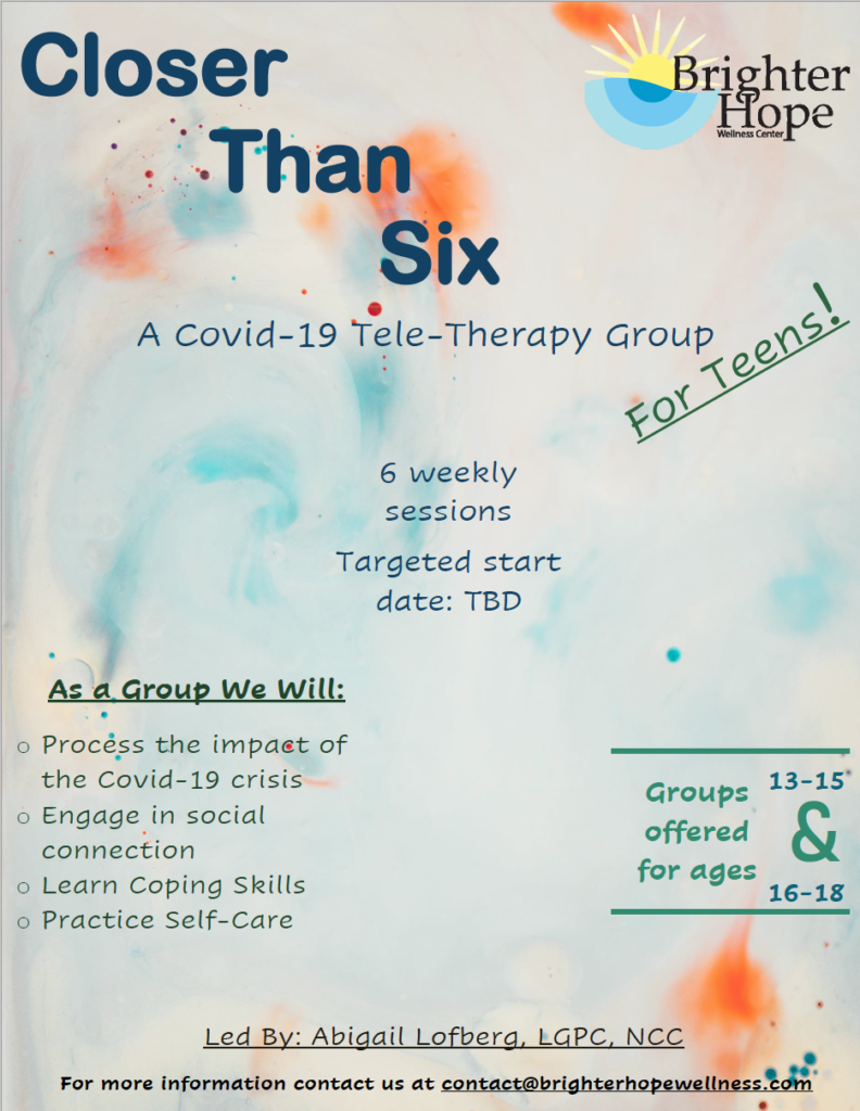 Closer Than Six: A COVID-19 Teletherapy Group