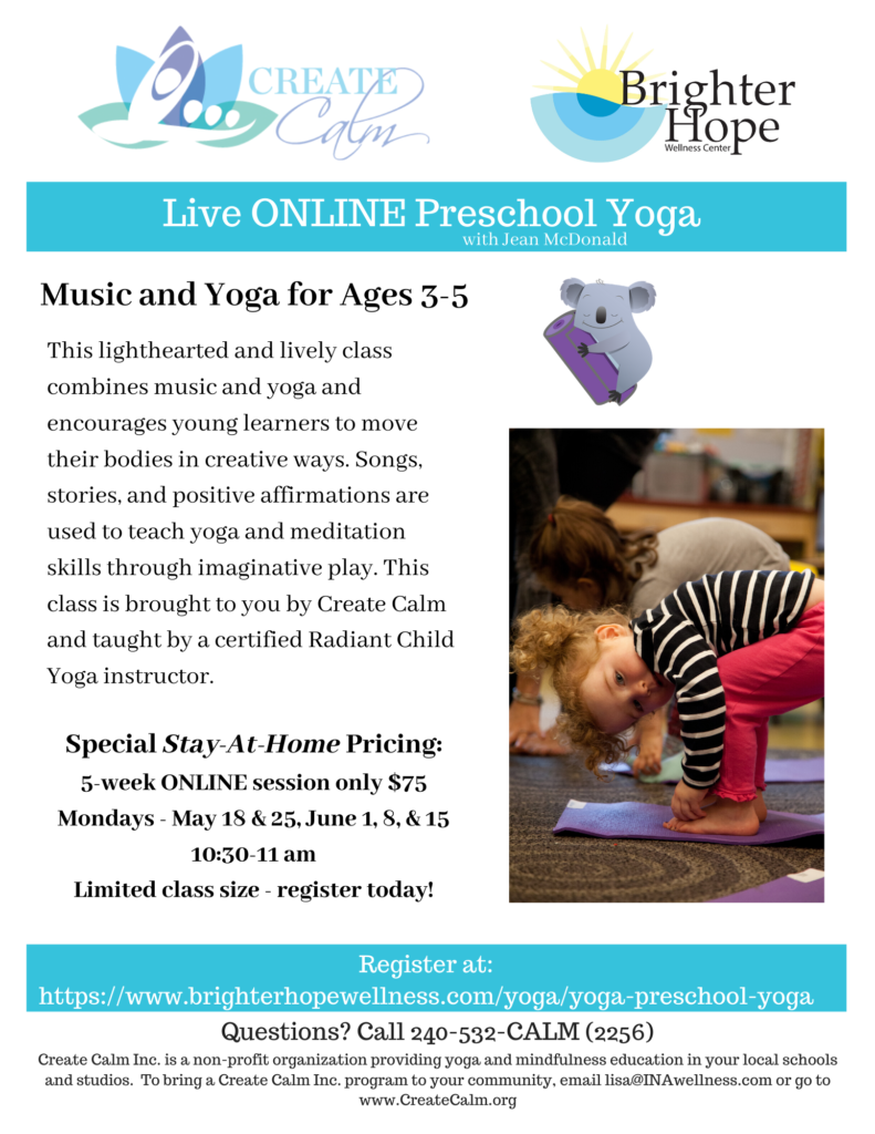 Flyer for Online Preschool Yoga Class at Brighter Hope Wellness Center